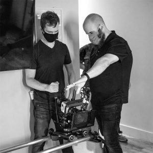 Corey and Bill on set